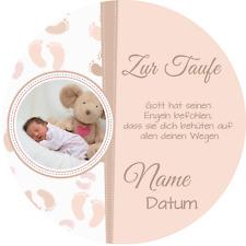 Tortenaufleger Taufe6 rosa mit Wunschtext und Foto / 20 cm Ø