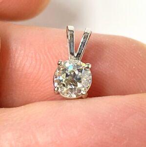 Vintage 14K White Gold 0.5CT Solitaire Natural Round Diamond Pendant