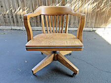 VINTAGE 1956-57 BOLING OAK LIBRARY BANKERS LAY BACK SWIVEL ARM CHAIR wSEAT GUARD