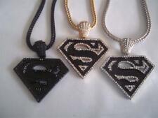 "Superman Hip Hop Pendant W/36"" Franco Snake Chain-3 Color Choices"