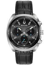 Bulova Curv 98A155 Mens Black Leather Strap Chronograph 43mm Case Watch