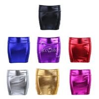 Sexy Womens Ladies PVC Shiny Wetlook High Waist Leather Tube Mini Skirt Clubwear