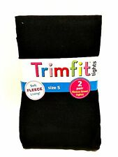 Trimfit Black Tights Two Pair Soft Fleece Lining Size Small 4-6 Weight 38-50