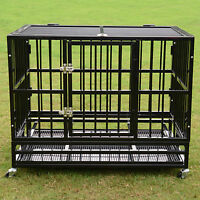 """37""""/42""""/48"""" Heavy Duty Dog Cage Crate Kennel Metal Pet Playpen Portable w/ Tray"""