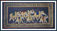 Natural Colors Miniature Painting of Decorated Elephants on Silk Cloth India