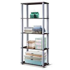5-Tier Home Living Room Display Rack Storage Shelves Space-Saving Bookcase