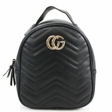 Designer Inspired Ladies Chevron GC Quilted Faux Leather Rucksack BLACK ()