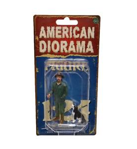 "CUSTOMER PATRICK w DOG AMERICAN DIORAMA 1:24 Scale Figurine 3"" Male Figure"