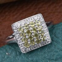 Ambanja Demantoid Garnet, White Zircon Platinum Over Sterling Silver Ring (Size