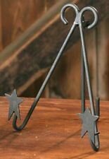 """Country Primitive Wrought Iron Double Star Plate Stand 7 1/2"""" Foldable"""