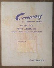 Conway ACCESSORI AUTO ORIG 1963 UK Opuscolo Vendite MKT