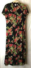 EMMA JAMES Liz Claiborne Womens Black Floral Maxi Dress Size 8 Career Casual