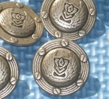 """FANCY Military Style Buttons Vtg Antiqued SILVER Metal WINGS Set 10 at 15/16"""""""