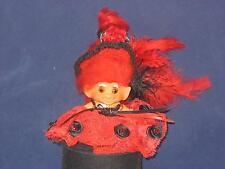 """2 1/2"""" VTG C-64 NEW RED MOHAIR,AMBER EYES RED W/BLACK ACCENTS FLAMINGO DRESSU450"""