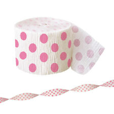 Unique Hot Pink Party Fayre Polka Dots Crepe Streamer 30 FT