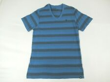 HURLEY - V-NECK - HORIZONTAL STRIPES - MEDIUM - BLUE T-SHIRT- Y721