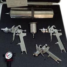 3pc HVLP Air Spray Gun Kit Auto Paint Car Primer Detail Basecoat Clearcoat Case