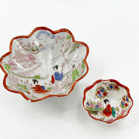 Vintage Hand Painted Japanese Three Footed Bowl Porcelain Geisha Scenes Set of 2