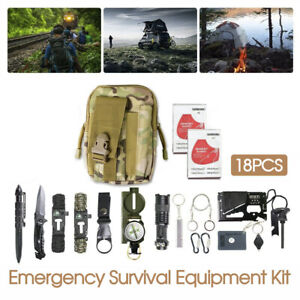 Emergency Survival Equipment Kit Outdoor Tactical Hiking Camping SOS Tool 18Pcs