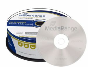 25 MediaRange Branded MultiSpeed 800MB 90min Blank CD-R discs 48x MR221 spindle