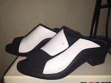 Romika Womens Sz 8/39 Shoes Black & White Leather Slip On Comfort Clogs~EUC