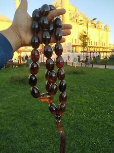 Ottoman Faturan German Amber Sandalous Misbaha Prayerbeads Rosary tasbih Rare =