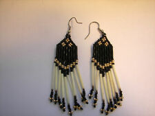 Porcupine  quill Earrings Beaded  Gold / black  Native American