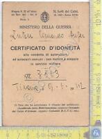 Ministero della Guerra - Certificato d'Idoneità (patente) 1942 - storia WW2 WWII