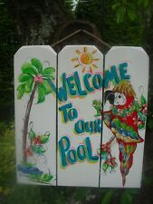 TROPICAL WELCOME POOL PATIO TIKI BAR HUT HOT TUB HOUSE BEACH  PLAQUE SIGN