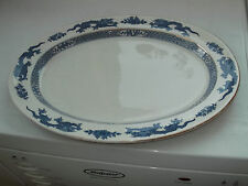 1906 + BOOTHS SILICON CHINA VERY LARGE OVAL PLATTER BLUE DRAGON  PATTERN TO RIM