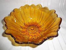 "Vintage Amber Glass Candy/Nut Bowl -  Beautiful Flower Pattern 7"" Diameter"