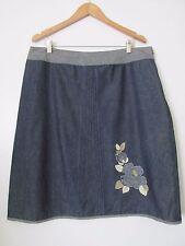 Garnet Hill Blue Light Denim 100% Cotton Floral Aplique Above Knee Skirt SZ: 18