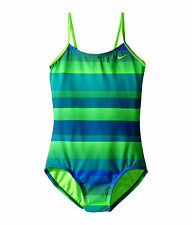 Nike Optic Shift onepiece v-back swimsuit NWT 12 girl Energy Blue Green NESS6628