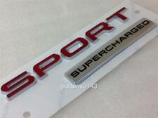 NEW GENUINE RANGE ROVER SPORT SUPERCHARGED TAILGATE BADGE EMBLEM RED AND SILVER