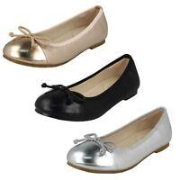 Spot On H2R507 Plat Ballerine Noeud Décontracté Filles Chaussures Été Bout à