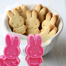 2pcs Rabbit Plunger Cookie Cutter Chocolate Biscuit Mold Cake Decorating Tools