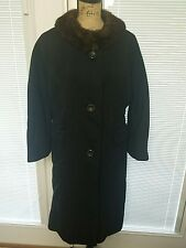 Vintage Sycamore Black Wool Mink Collar Coat Womens Size Large