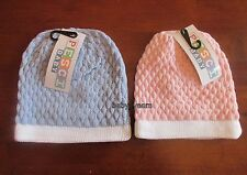 BABY WINTER CLOTHING KNITTED HAT GIRLS BOYS PINK BLUE COTTON LINED 0-3 3-6 MTHS