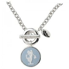 Wedgwood Sterling Silver Classic Muse White/ Pale Blue Floral Girl Necklace New