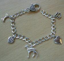 Dog Lover Charm Bracelet,whippet/greyhound,paw prints