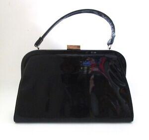 Vtg 50s 60s Jaclyn Black Patent Leather Kelly Handbag Rockabilly Sunday Purse