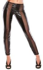 Latex Look Sexy Black Leggings See Through Mesh Inserts Down the Front and Back