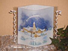 Tischlicht/Windlicht - Kirche im Schnee - Weihnachten/Winter