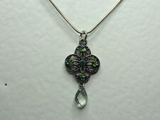 LOVELY sparkly DK SILVER PLATED pendant GREEN BLUE TURQUOISE GLASS STONES chain