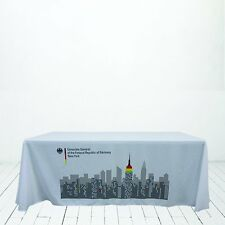 Custom Premium White Table Covers & Throws 6 x 2.5' ( 3 sided )