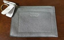 Coach Silver Saffiano Leather Key Ring Coin Purse Card Wallet