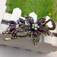Women's Cute Hair Clip Flower Bronze Hairpin Rhinestone Alloy Duckbill Amazing