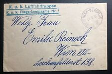 1918 Kuk Air Force Feldpost Zelenika Montenegro Austria Cover To Vienna