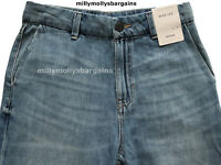 New Womens Marks & Spencer Blue Wide Leg Crop Jeans Size 18 14 12 10 8