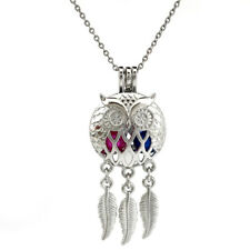 "Owl Head Pendant-55mm Dream Catcher Beads Cage Diffuser Locket Chain 18""---K707"